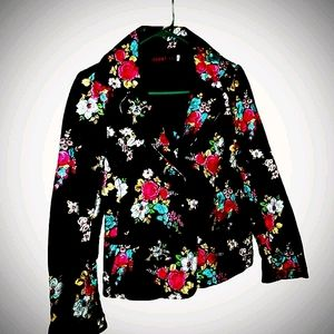 Johnny was blazer black with red blue roses size s
